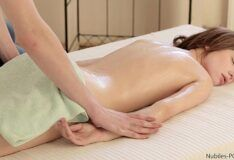 Naughty skinny girl getting into the masseuse