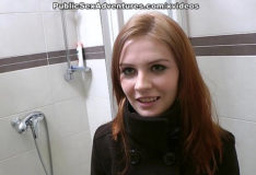 Xnnxx Redhead with innocent face doing perverted stuff in the public toilet